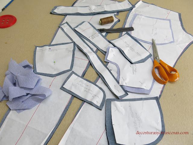 piezas de un pantalón vaquero stretch