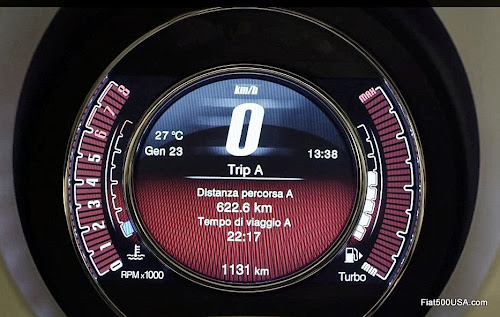 Fiat 500 digital instrument panel