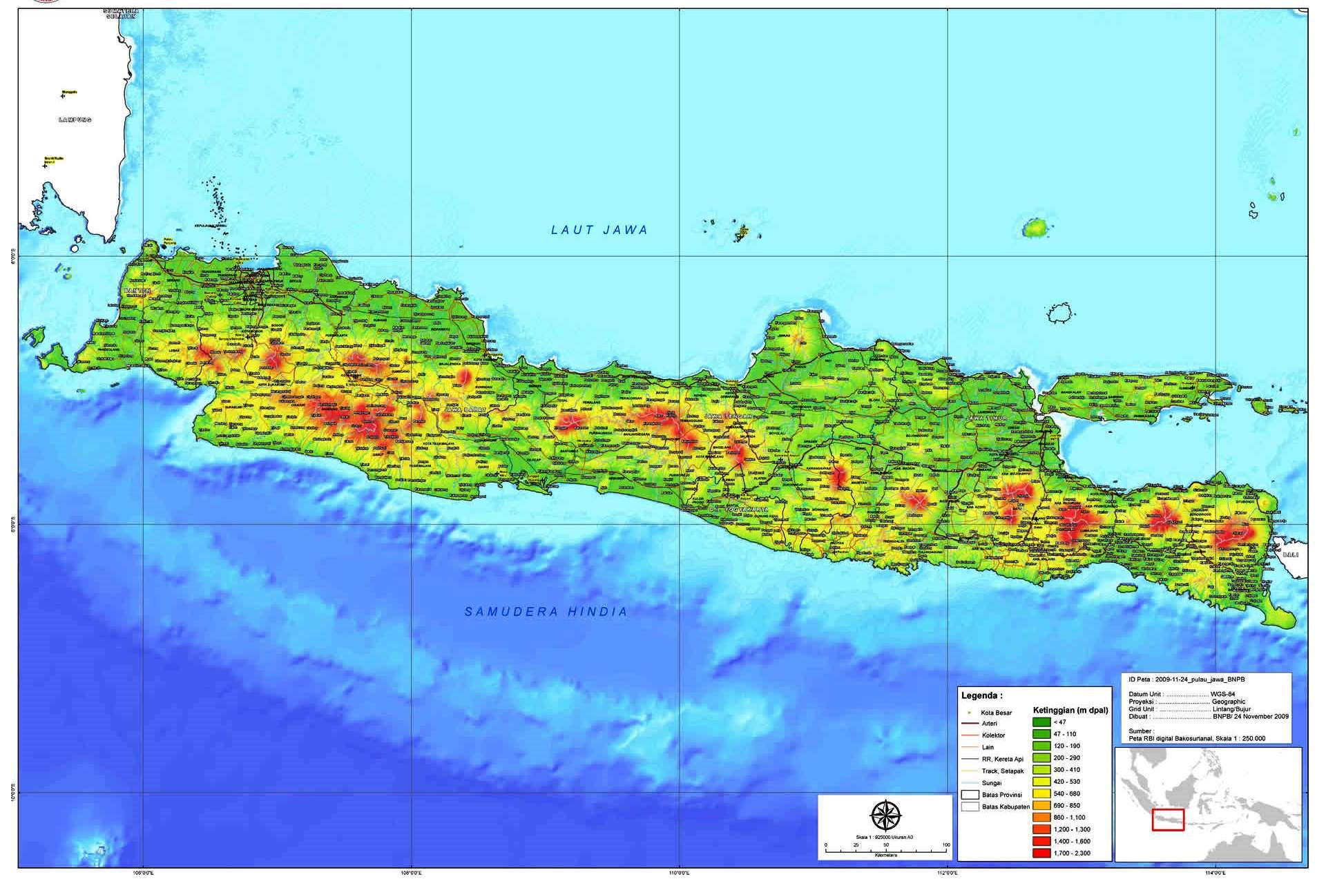 peta kota peta pulau jawa