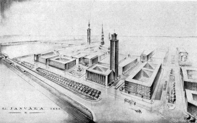 1939 год. Рига. Проект здания почтово-сберегательной кассы архитекторов Зариньша и Сарма на улице 13 января. Башня была добавлена по просьбе Улманиса.