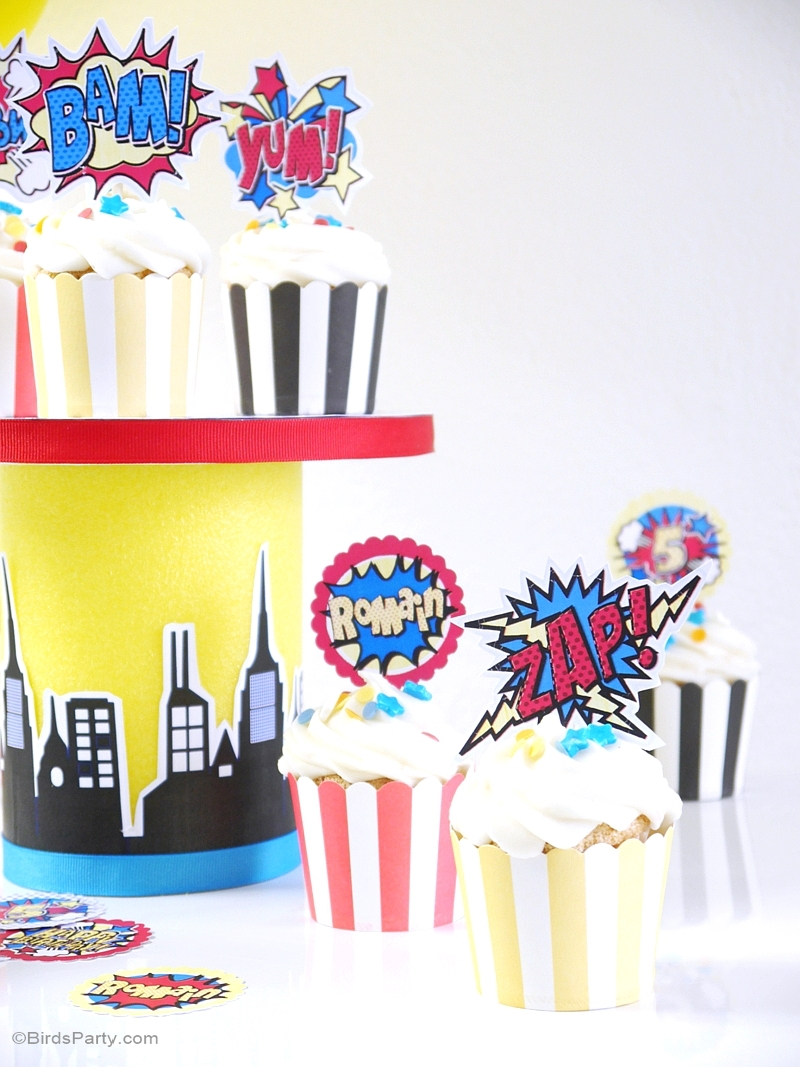 DIY Superhero Birthday Party Cupcake Stand - BirdsParty.com