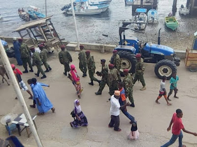 Security officers on a street in Lamu.  PHOTO | CHETI PRAXIDES