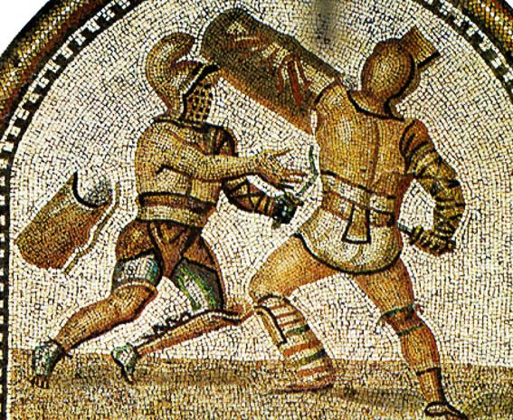 Mosaico romano gladiadores. El coliseo de Roma