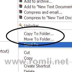 Membuat klik kanan copy to dan move to