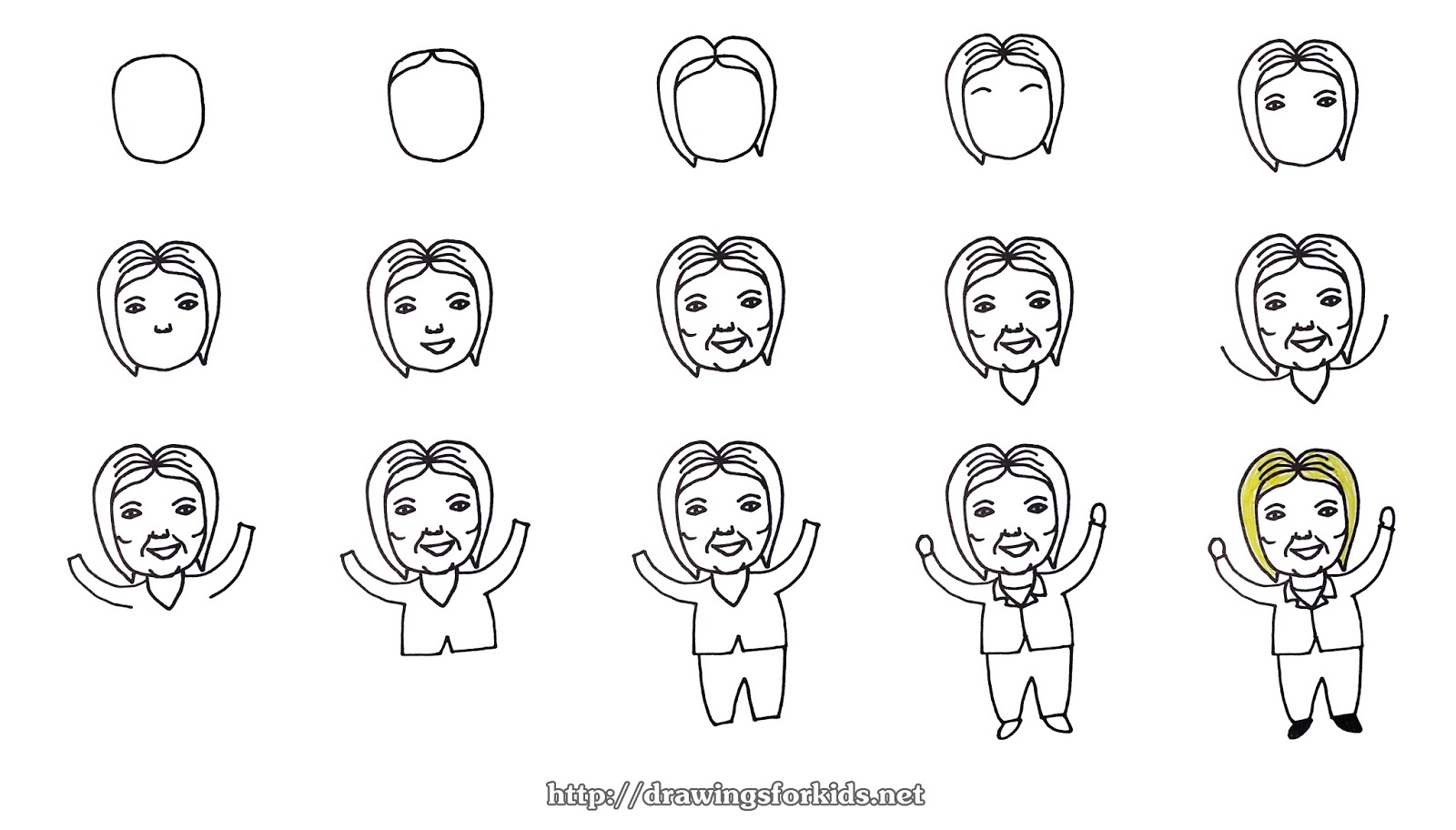 Unique How to draw Hillary Clinton for kids - drawingsforkids.net VQ16