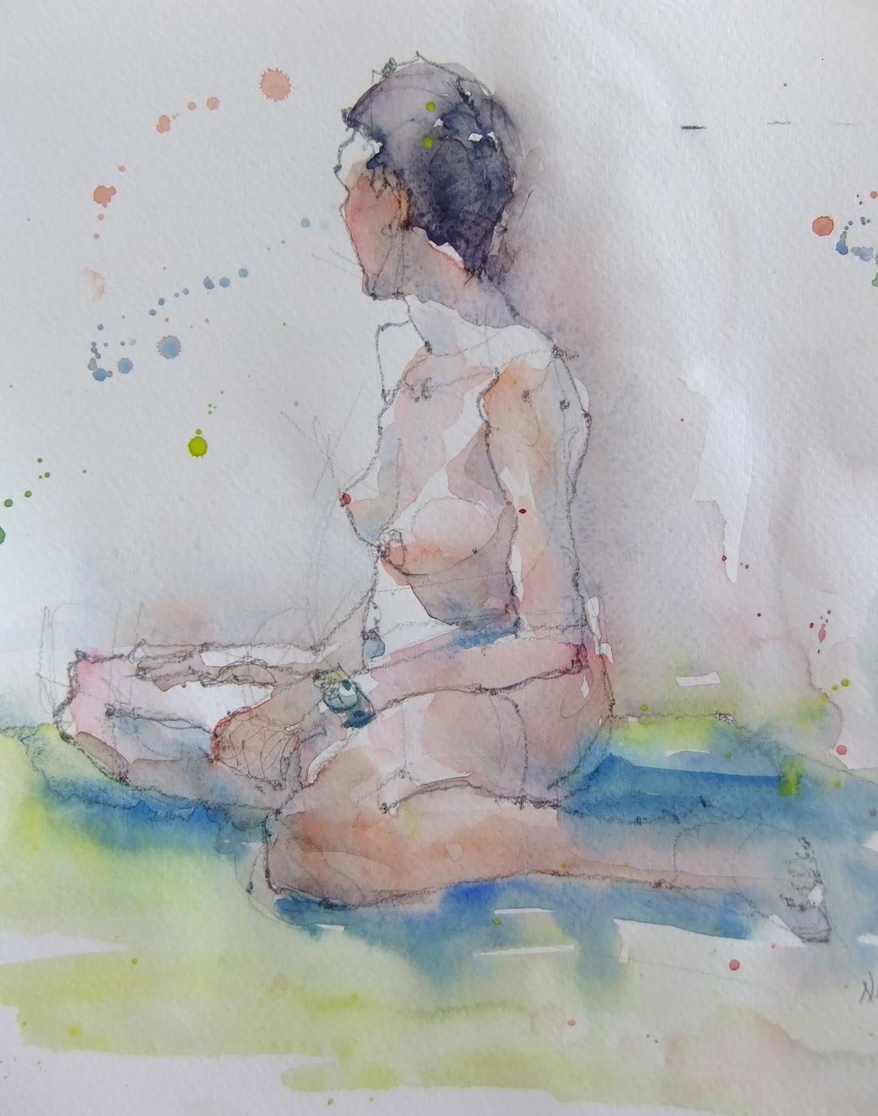 Female Nude Print Watercolor Nude Watercolour Art Erotic Art