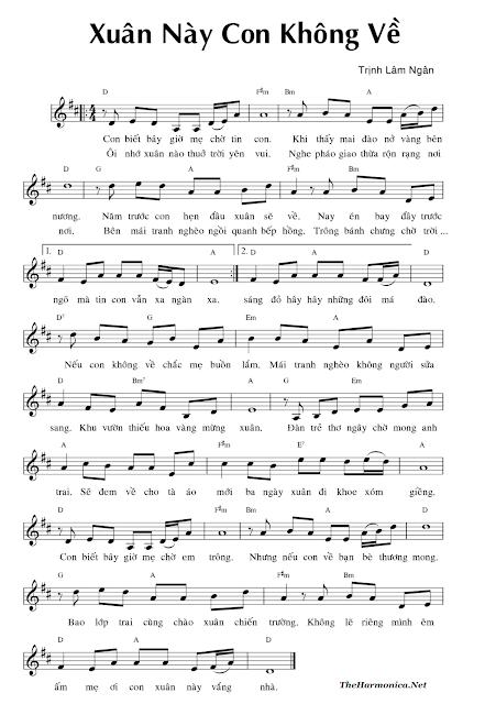 Xuan Nay Con Khong Ve Harmonica Tabs, Sheet, Piano, Guitar, Flute, Sao Truc , Sheet Nhac