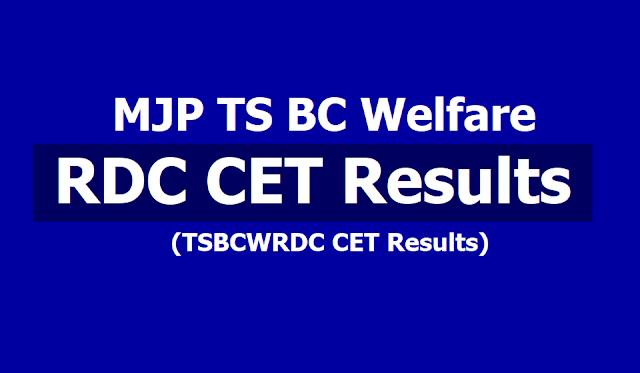 MJP TS BC Welfare RDC CET 2019 Results