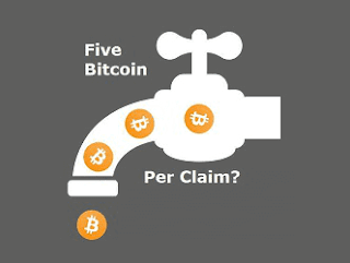 five bitcoins per claim first bitcoin faucet