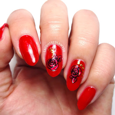 Ruby Red Rose Nails
