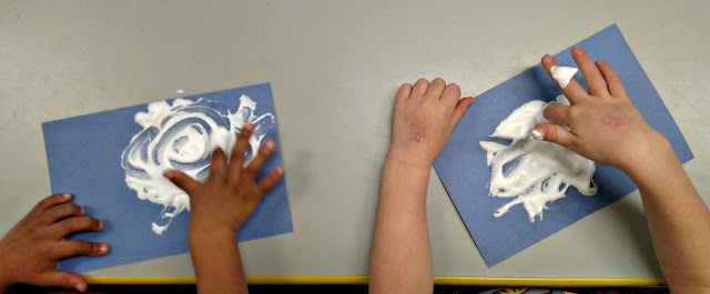"Sensory art ""clouds"" to accompany book ""It Looked Like Spilt Milk"" 