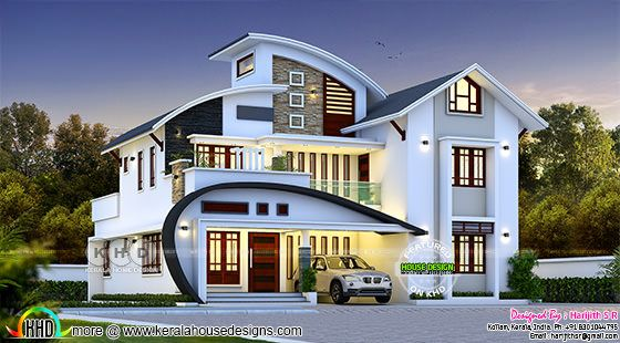 modern house with unique C-curve roof