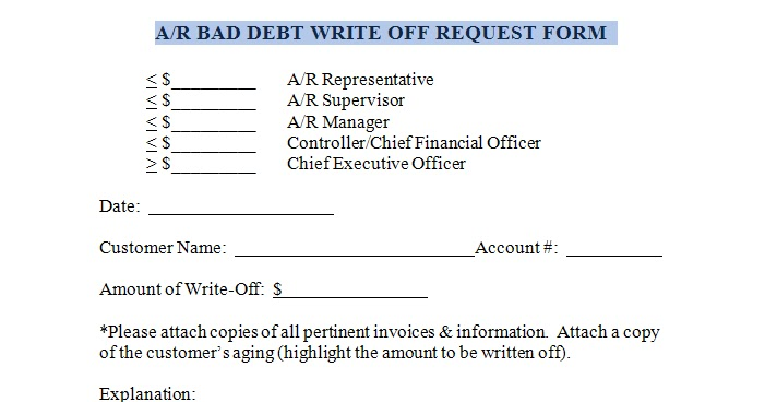Office Forms Accounts Receivable Bad Debt Write Off