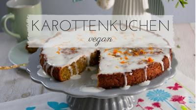 vegan | Karottenkuchen schmeckt lecker und passt nicht nur zu Ostern. Dieses Rezept ist für einen veganen Karotten-Apfel-Kuchen mit einer Glasur aus Kokosmilch
