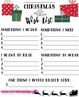 christmas wish list 2017 template