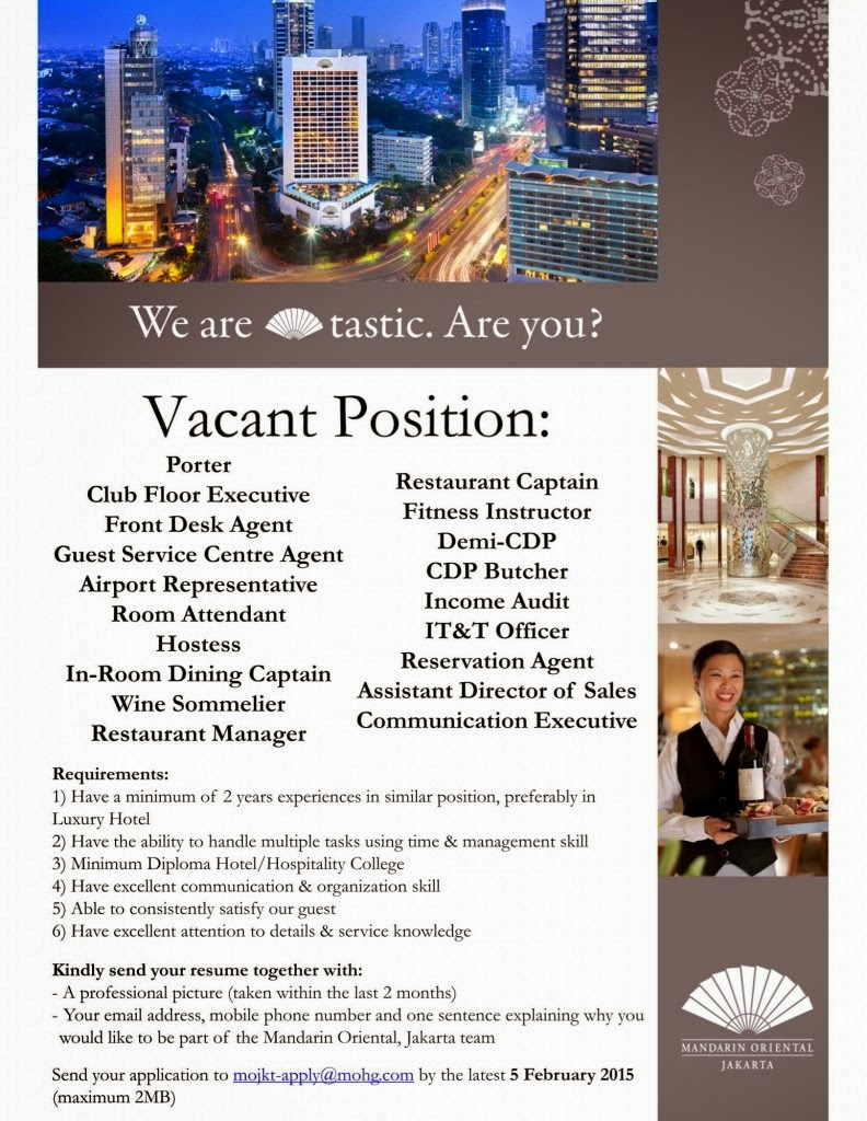 Mandarin Oriental, Jakarta | KARIRHOTELIER COM | HHRMA, Hospitality