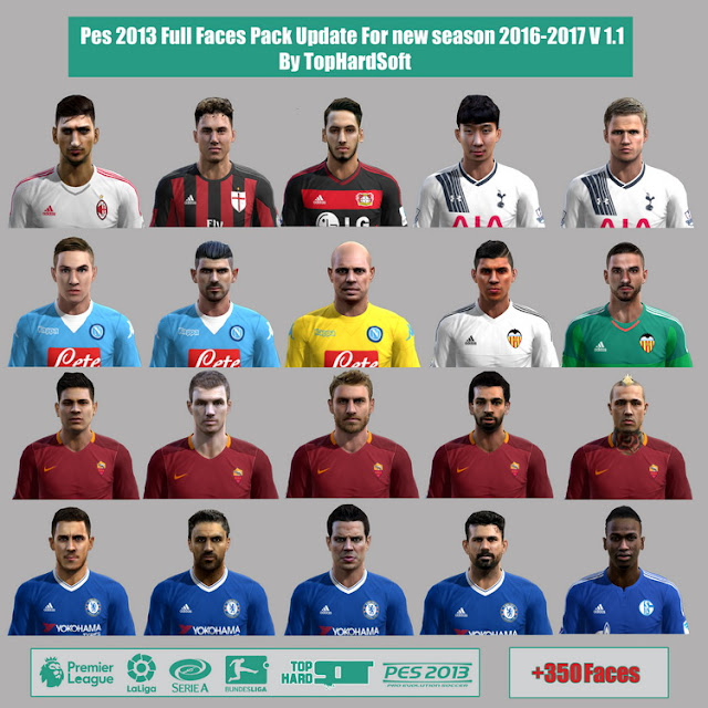 Pes 2013 Full Faces Pack Update For new season 2016-2017 V 1.1 By TopHardSoft