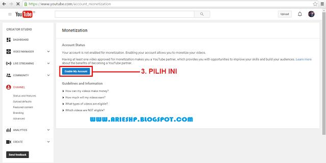 Daftar Akun Adsense Youtube 2 Arieshp