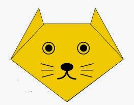 Bước 6: Vẽ mắt, mũi, miệng, râu để hoàn thành cách xếp mặt con mèo giấy.