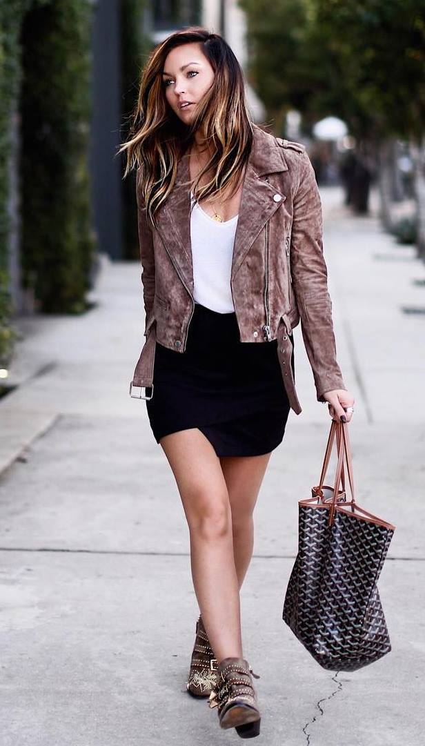 how to style a brown biker jacket : bag + white top + black skirt + boots