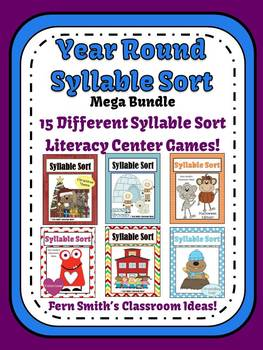 Fern Smith's Year Round Syllable Sort Mega Bundle Center Games for Common Core
