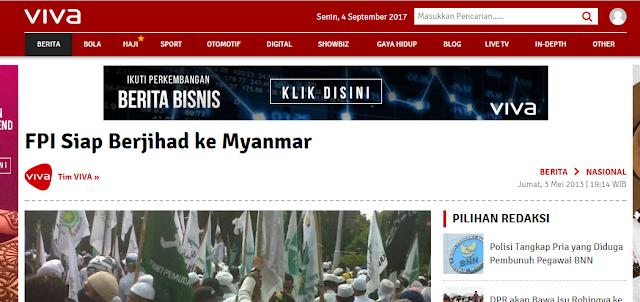 Berita Tahun 2013: FPI akan Beli Senjata Dan Berjihad ke Myanmar
