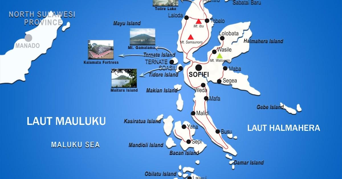 Peta Provinsi Maluku Utara Lengkap 8 Kabupaten 2 Kota ...