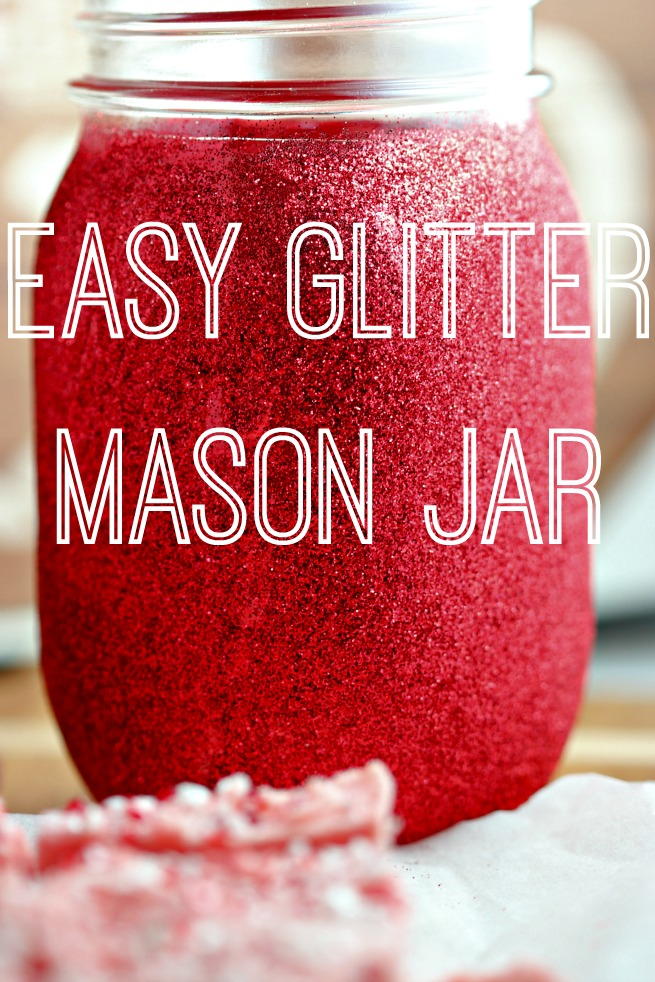 Gift Idea: Homemade Peppermint Crunch Fudge & Glitter Mason Jar.  How to make Peppermint Crunch Fudge.  Easy fudge recipe.  Easy Glitter Mason Jar.