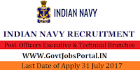 Indian Navy Recruitment 2017– Officers Executive & Technical Branches