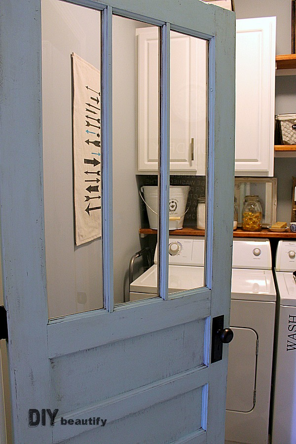 fitting an antique door for a laundry room
