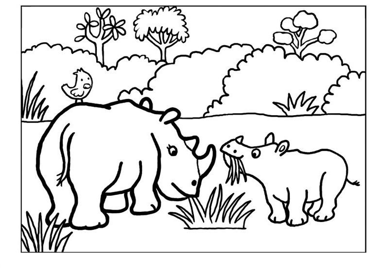 Tranh tô màu gia đình con tê giác xinh