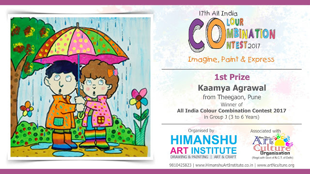 1st Prize  Winner Kaamya Agrawal from Theegaon, Pune in All India National Level Painting Competition for Kids