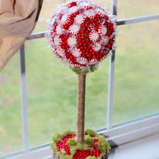 How to make a peppermint topiary christmas decoration