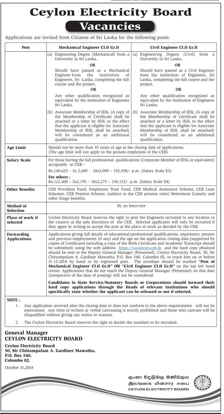 Vacancies at Ceylon Electricity Board