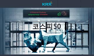 코스피 50 주가 지수 시세 그래프, 단위: %, KOSPI 50 Index price chart