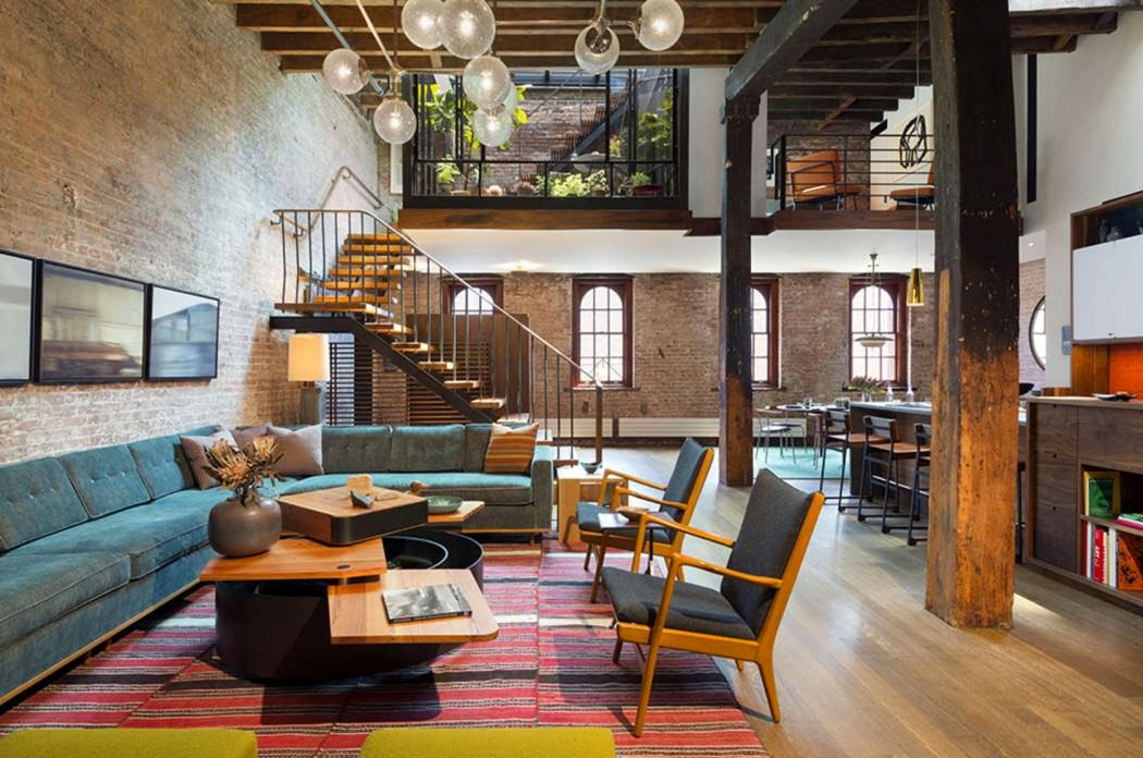 Um loft Mid Century Modern no bairro de Tribeca, NYC Casinha - moderne modulare kuche komfort