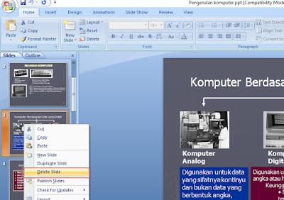 Beberapa cara menghapus Slide pada Powerpoint