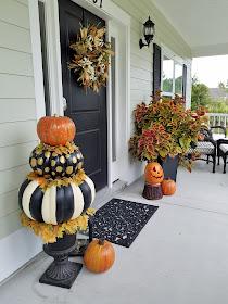 pumpkin topiary, solar pumpkins Fall decorating