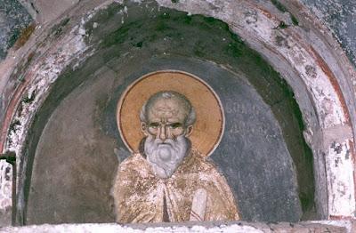 Τοιχογραφία του Εμμανουήλ Πανσέληνου (έζησε γύρω στο 13ο με 14ο αιώνα) στο Πρωτάτο του Αγίου Όρους.