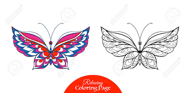 Decorative Butterfly Coloring Book For Adult And Older Children Coloring  Page With Colored Sample