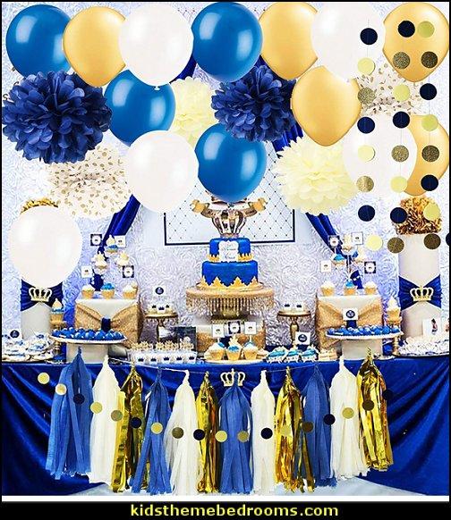 Royal Pince Baby Shower Decorations/ Navy Gold Bridal Shower Decorations Tissue Pom Pom Latex Ballons Tassel Garland Polka Dot Tissue Poms for Boy First Birthday