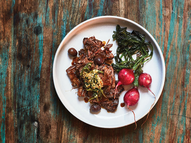 This funky flaxseed, herb, and vinegar relish complements the Braised Beef Shank with Roasted Radishes and Flaxseed Relish to balance out the pot roast's richness with acidity and texture.