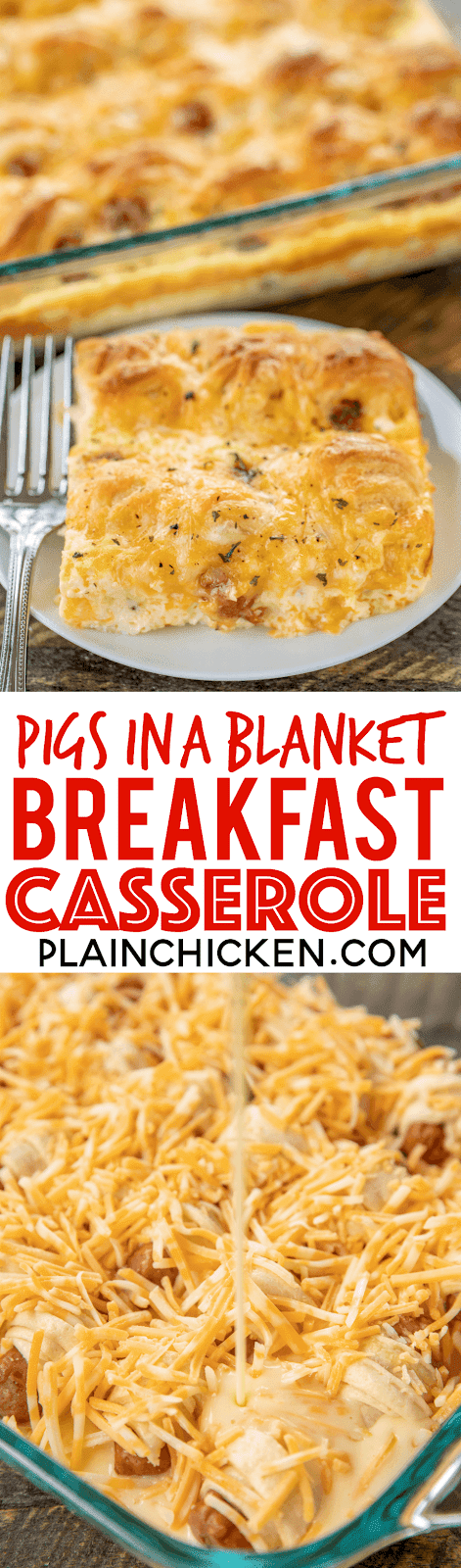 Pigs in a Blanket Breakfast Casserole - seriously the BEST!!! Crescent rolls, dijon mustard, lit'l smokies, cheese, eggs and milk. SO simple and SOOO delicious! Great for breakfast, brunch, lunch, dinner and tailgating! I mean, nothing says football food like pigs in a blanket. Everyone LOVED this easy breakfast casserole. They cleaned their plate and asked for seconds. Success!!! #breakfast #casserole #pigsinablanket #breakfastcasserole