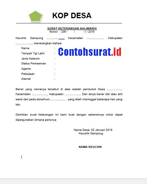 Contoh Surat Keterangan Ahli Waris Keluarga dari Kepala Desa
