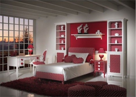 Bedroom Decorating Ideas For Young Women With Red Color Schemes