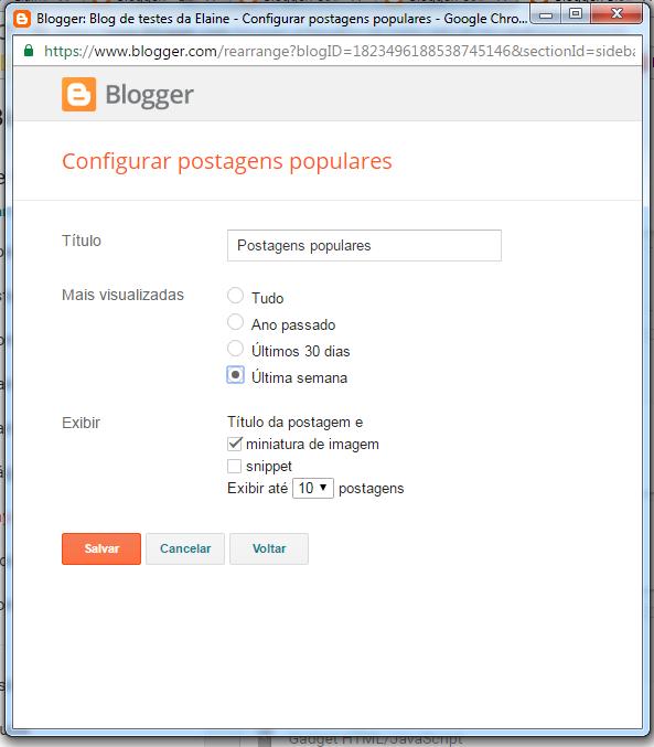 como colocar as postagens populares no blog
