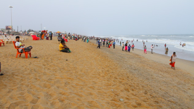Extremely popular golden beach of Puri, Odisha