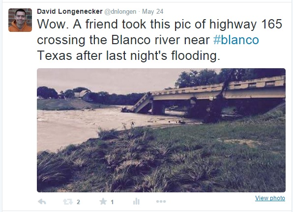Highway 165 bridge across the Blanco River has been destroyed.