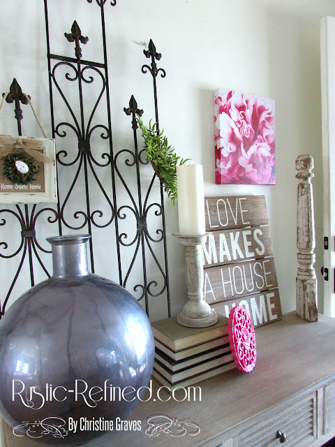 Rustic spring touches of decor in the entryway