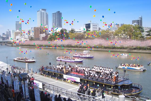 Hachikenya Ohanami Festa (Spring Festival) at Temmabashi River Front, Osaka